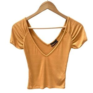 Urban Outfitters Yellow V- Neck Crop T-Shirt S